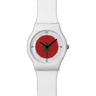 Moroccan flag wrist watch