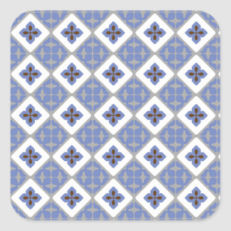Moroccan Floral Tile Pattern Lilac Grey Brown Square Sticker