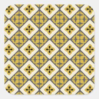Moroccan Floral Tile Pattern Yellow Grey Black Square Sticker