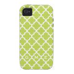 Moroccan fresh lime green tile design 3 monogram iPhone 4/4S case