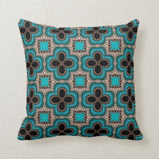 Moroccan Geometric Floral Pattern Teal Tan Black Throw Pillow