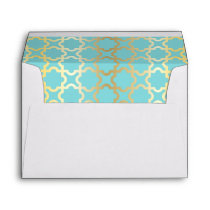 Moroccan gold,mint,tourquise,pattern,girly,trendy, envelope