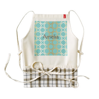 Moroccan gold,mint,tourquise,pattern,girly,trendy, zazzle HEART apron