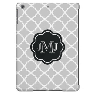 Moroccan Gray pattern with black monogram iPad Air Case