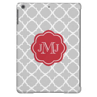 Moroccan Gray pattern with red monogram iPad Air Case