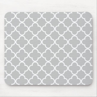 Moroccan Gray White Quatrefoil Pattern Mouse Pad