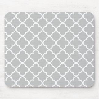 Moroccan Gray White Quatrefoil Pattern Mouse Pads