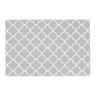 Moroccan Gray White Quatrefoil Pattern Placemat at Zazzle