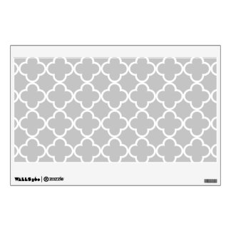 Moroccan Gray White Quatrefoil Pattern Wall Skins