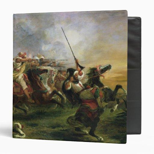 Moroccan horsemen in military action, 1832 3 ring binder