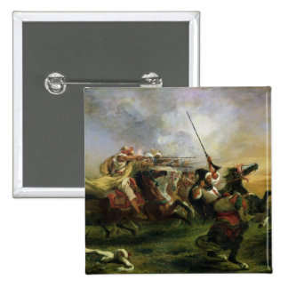 Moroccan horsemen in military action, 1832 2 inch square button
