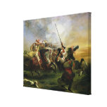 Moroccan horsemen in military action, 1832 gallery wrapped canvas
