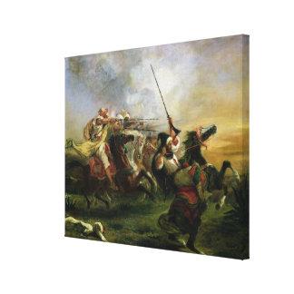 Moroccan horsemen in military action, 1832 canvas print