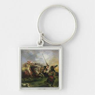 Moroccan horsemen in military action, 1832 keychain
