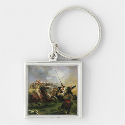 Moroccan horsemen in military action, 1832 key chains