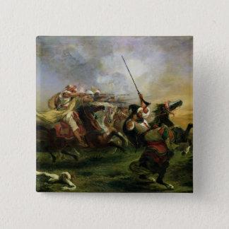 Moroccan horsemen in military action, 1832 pinback button