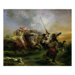 Moroccan horsemen in military action, 1832 poster