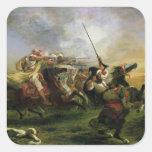 Moroccan horsemen in military action, 1832 sticker