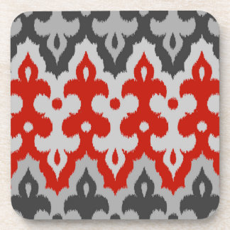 Moroccan Ikat Damask, Graphite Gray and Red Drink Coaster