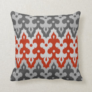 Moroccan Ikat Damask, Graphite Gray and Red Throw Pillow