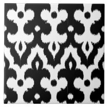 Moroccan Ikat Damask Pattern, Black and White Tile