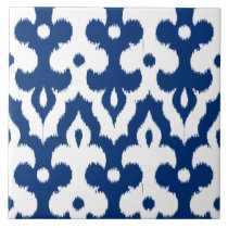 Moroccan Ikat Damask Pattern, Cobalt Blue & White Ceramic Tile