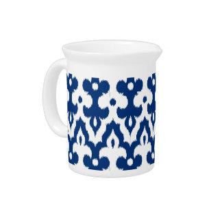 Moroccan Ikat Damask Pattern, Cobalt Blue & White Drink Pitcher