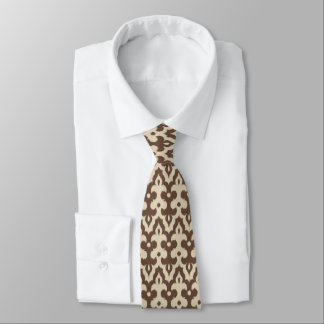 Moroccan Ikat Damask Pattern, Taupe and Beige Neck Tie