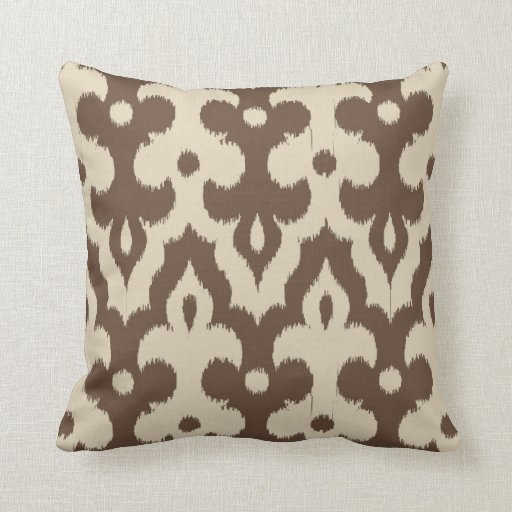 Moroccan Ikat Damask Pattern, Taupe and Beige Throw Pillow Zazzle