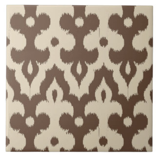Moroccan Ikat Damask Pattern, Taupe and Beige Tile