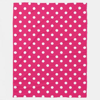 Moroccan Jewel Pink and White Polka Dot Fleece Blanket