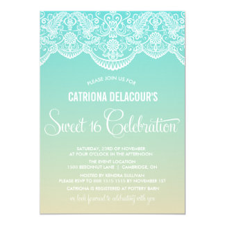 Moroccan Lace | Ombre Sweet Sixteen Invitation