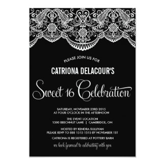 Moroccan Lace Pattern Sweet Sixteen Invitation