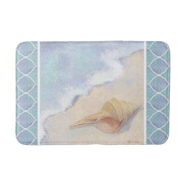 Beach Themed Moroccan Lantern Tile Beach Ocean Seashell Blue Bathroom Mat
