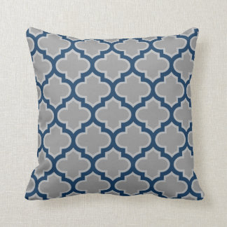Moroccan Lattice Gray and Navy Blue Pattern Throw Pillow