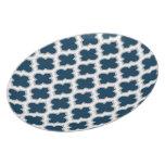 Moroccan Lattice Navy Blue and Gray Melamine Dinner Plates