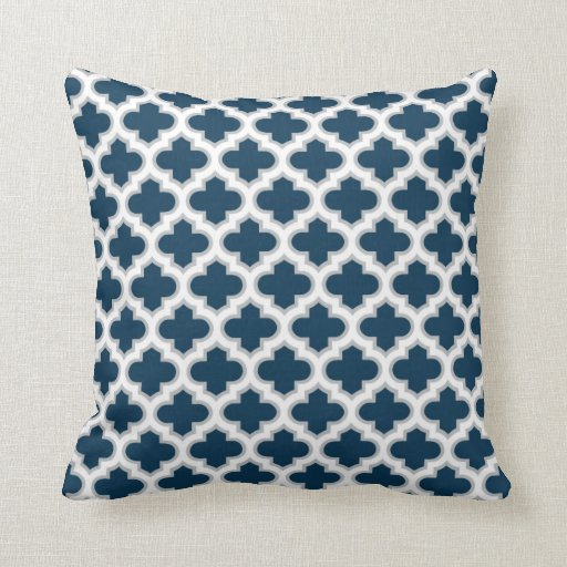 moroccan lattice navy blue gray white pattern throw pillow zazzle. Black Bedroom Furniture Sets. Home Design Ideas