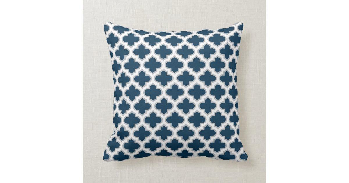 Blue Lattice Throw Pillow : Moroccan Lattice Navy Blue Gray White Pattern Throw Pillow Zazzle