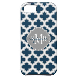 Moroccan Lattice Navy Blue Gray White Personalized iPhone 5 Cover