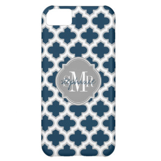 Moroccan Lattice Navy Blue Gray White Personalized iPhone 5C Covers