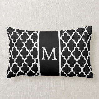 Moroccan Lattice Pattern In White And Black Lumbar Pillow at Zazzle