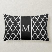 Moroccan Lattice Pattern In White And Black Lumbar Pillow