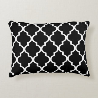 Moroccan Lattice Pattern Pillow - Black and White