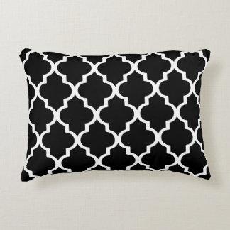 Moroccan Lattice Pattern Pillow - Black and White