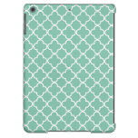 Moroccan Mint Green & White Quatrefoil Pattern iPad Air Covers