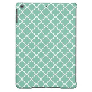 Moroccan Mint Green & White Quatrefoil Pattern iPad Air Covers