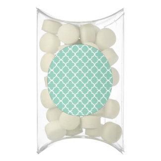 Moroccan Mint Green & White Quatrefoil Pattern Chewing Gum Favors