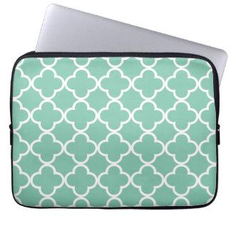 Moroccan Mint Green & White Quatrefoil Pattern Computer Sleeve