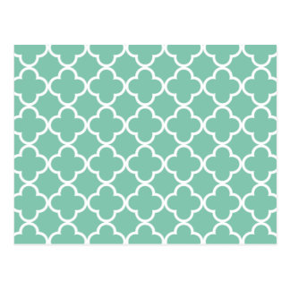 Moroccan Mint Green & White Quatrefoil Pattern Postcard