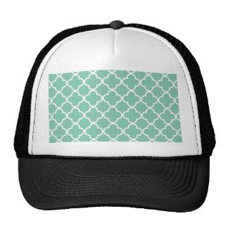 Moroccan Mint Green & White Quatrefoil Pattern Trucker Hat